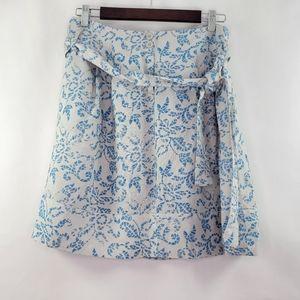 Sandro paperbag waist linen floral skirt